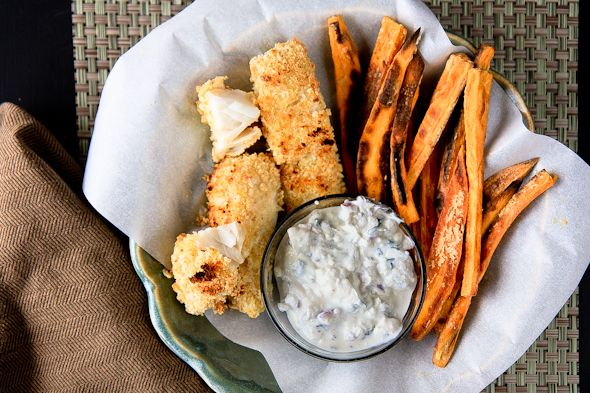 Crispy Baked Fish and Sweet Potato Fries (white fish fillet, egg white ...