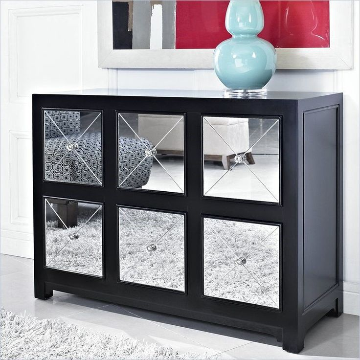 Powell Furniture 233 660 Mirrored 6 Drawer Black Wood Console