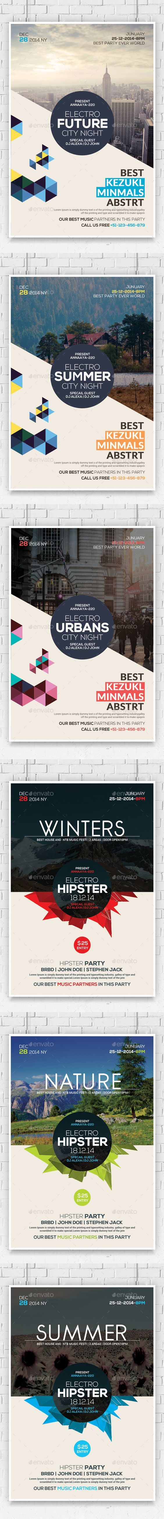 Hipster Party Flyers Bundle (CS, 4x6, abstract, album, clean, club, club flyer, design, electro, flyer, future, futuristic, geometric, geometric flyer, geometry, house, house flyer, minimal, minimal flyer, minimal party, minimalistic, modern, modern flyer, party flyer, poster, pure, style, stylish, techno, triangle, white, white flyer):
