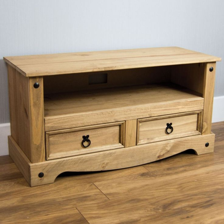 Wooden TV Stand Classic Furniture Living Room Cabinet Solid Pine Unit W Storage