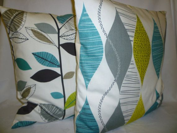 "BIG 22"" Funky Retro Teal Green Gray White Designer Cotton Cushion Cover's.Pillowcases Shams Slips"
