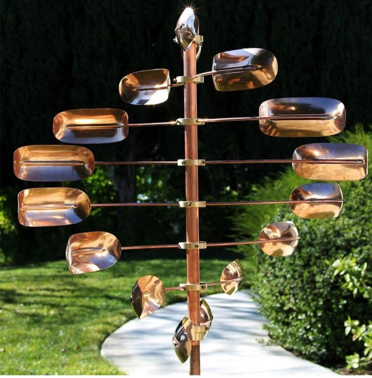 Metal Wind Spinner Copper Kinetic Twirler Pin Wheel Mill Yard Garden  Sculpture
