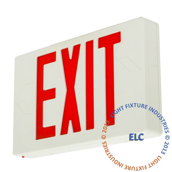 Exit Sign, Standard - Red LED - White - Battery Backup