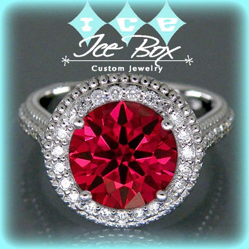 Cultured Hearts and Arrows Cut Ruby Engagement Ring 3.34ct, 9mm Round Hearts and Arrows Ruby set in a 14k White Gold Diamond Halo Setting ~$1,880