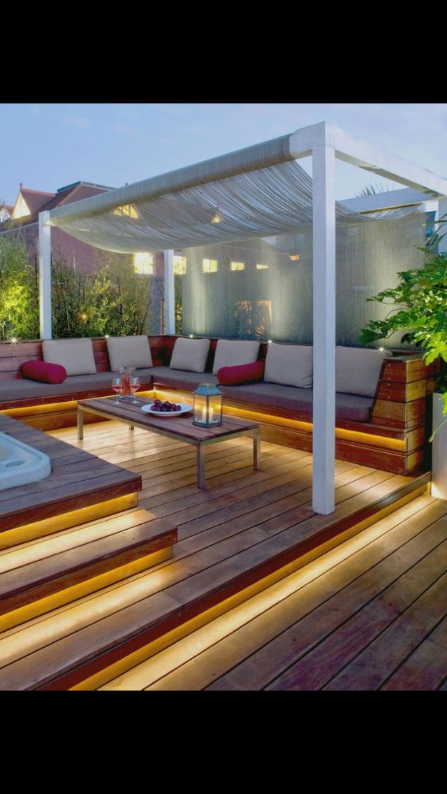 Loving this deck! The rope lights the outdoor sectional sofa and most of all the gorgeous draping canopy!