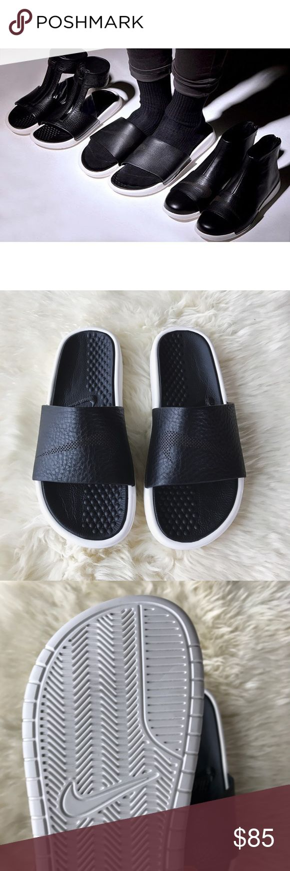NikeLab Benassi Lux Leather Slides •The NikeLab Benassi Lux Women's Slide brings premium details that elevate the classic silhouette. The Supple leather strap with jersey lining offer plush comfort while injected Phylon sole for soft, lightweight cushioning.  •Women's size 6  •New in box (no lid).  •NO TRADES/HOLDS/PAYPAL/MERC/VINTED/NONSENSE. Nike Shoes Slippers
