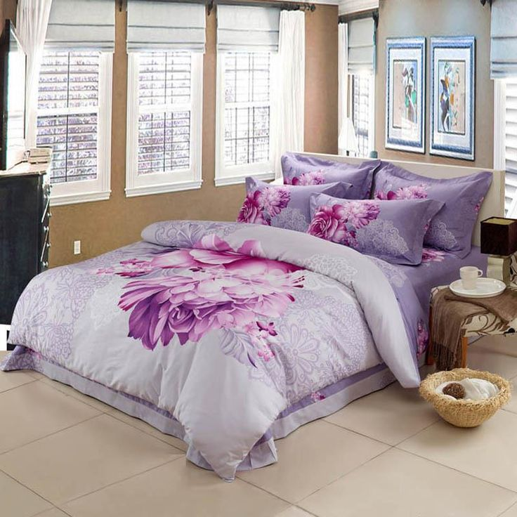 Purple Floral Reactive Print Cotton 4 Piece FullQueenKing