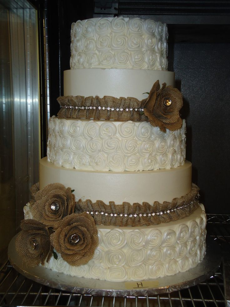 Country Chic wedding cake with burlap and rhinestonesDelicious Cakes Addison