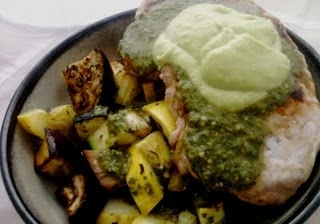 Pork Chops over Roasted Summer Vegetables in a Citrus Balsamic Vinaigrette and Avocado Cream