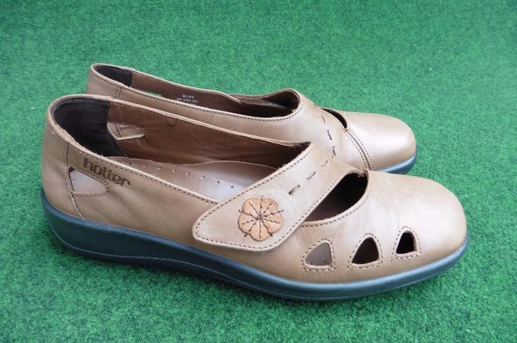 SIZE UK 4 HOTTER BLISS BROWN LEATHER SLIP ON SHOES WITH VELCRO STRAP