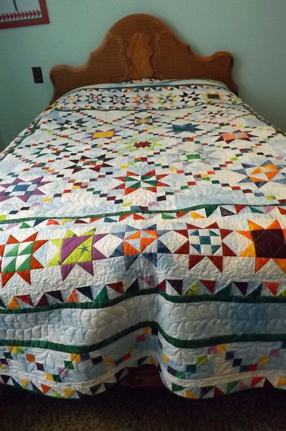 Patchwork Quilt Full Size Quilt Multicolor Quilt Star Quilt Etsy In 2020 Patchwork Quilts Quilts Quilt Full