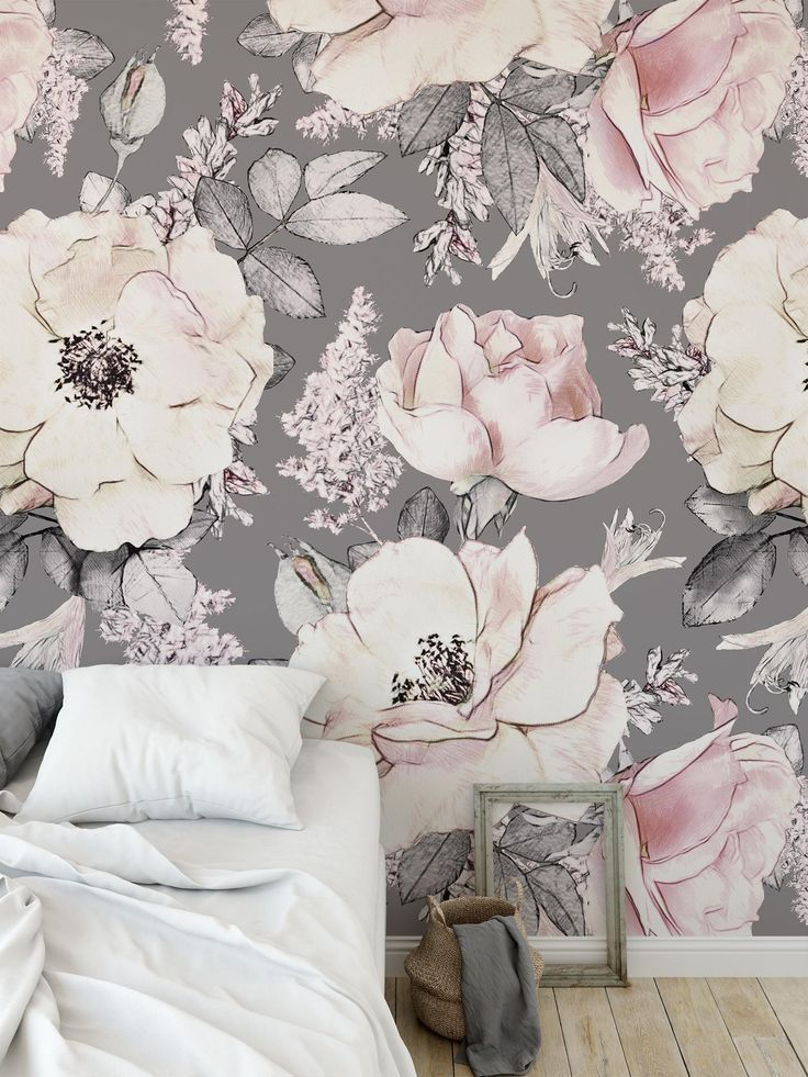 Vintage Peony Removable Wallpaper Floral Drawing Peel And Stick Or Traditional Material In 2021 Removable Wallpaper Grey Removable Wallpaper Vinyl Wallpaper