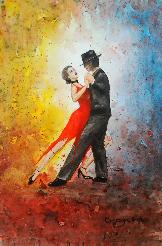 Original Watercolor Painting - Red Sweet Tango - Love Couple Dance - Abstract Figurative Painting - Contemporary Art By Gargovi