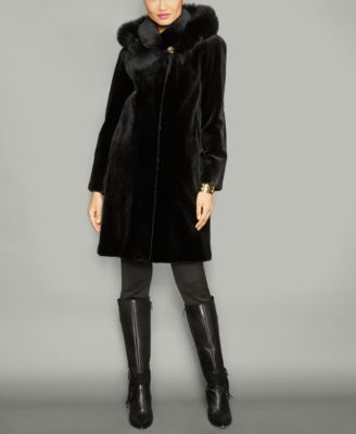 The Fur Vault Fox-Fur-Trim Hooded Mink Fur Coat