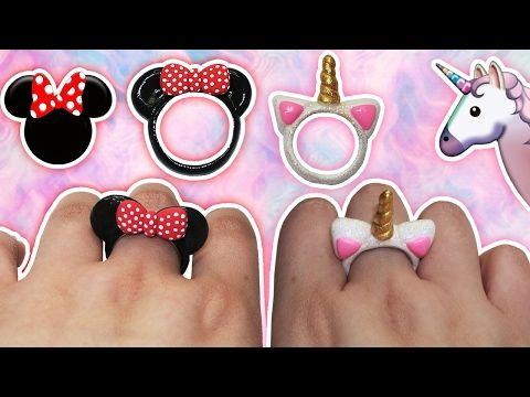 ♥ Tutorial: Anillos DIY de Mickey/Minnie Mouse y Unicornio CUTE ♥ - YouTube