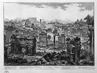 Giovanni Battista Piranesi;veduta del Campo Vaccino(Antichità Romane);1748;acquaforte.