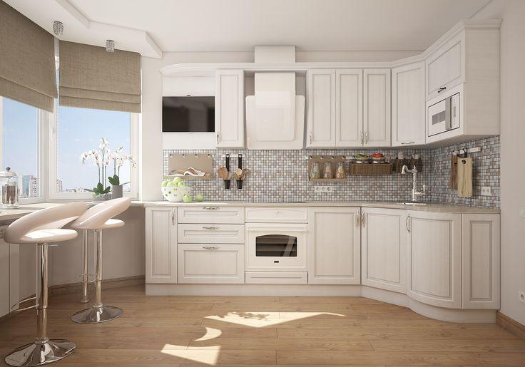 Оформление кухни в квартире на севере столицы. Светлый гарнитур в сочетании с пестрой мозаикой кухонного фартука.