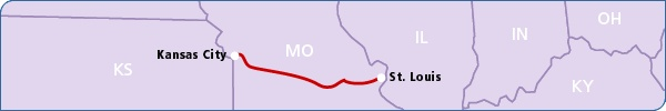 The Missouri River Runner travels daily between Kansas City and St. Louis, MO. http://www.amtrak.com