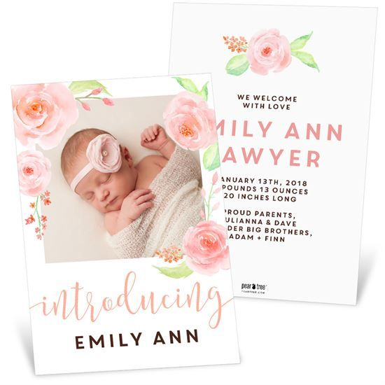 Floral Introduction Birth Announcements