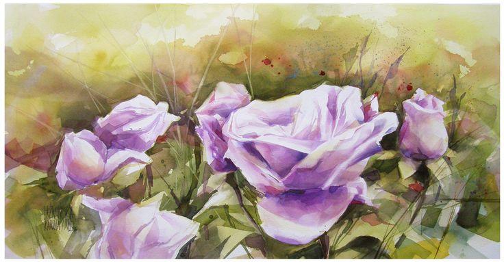 Watercolour/ Garden/ 74x38 cm/ paper: Millford/ QoR