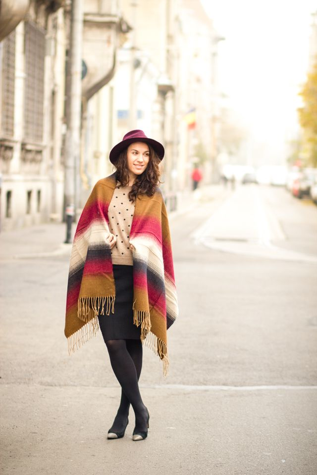 poncho, hat, burgundy, personal style, fall, fashion