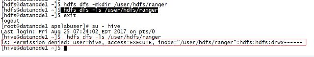 Creating HDFS policy in Ranger User interface   Apache Ranger is a policy based security tool for Hadoop eco system tools. Ranger provides security policies for tools like HDFS YARN Hive Knox HBase and Storm. In this article we will learn how to create HDFS policy in Apache Ranger UI.1) Create a folder in HDFS. We will create an HDFS directory /user/hdfs/ranger to test Ranger HDFS policies. We will be creating directory /user/hdfs/ranger using hdfs user. hdfs dfs -mkdir /user/hdfs/ranger…