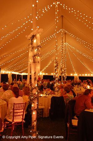 String lights around perimeter of tent strung to tent ceiling and wrapped around poles. & 48 best Wedding Tent Lighting Ideas images on Pinterest | Lighting ...