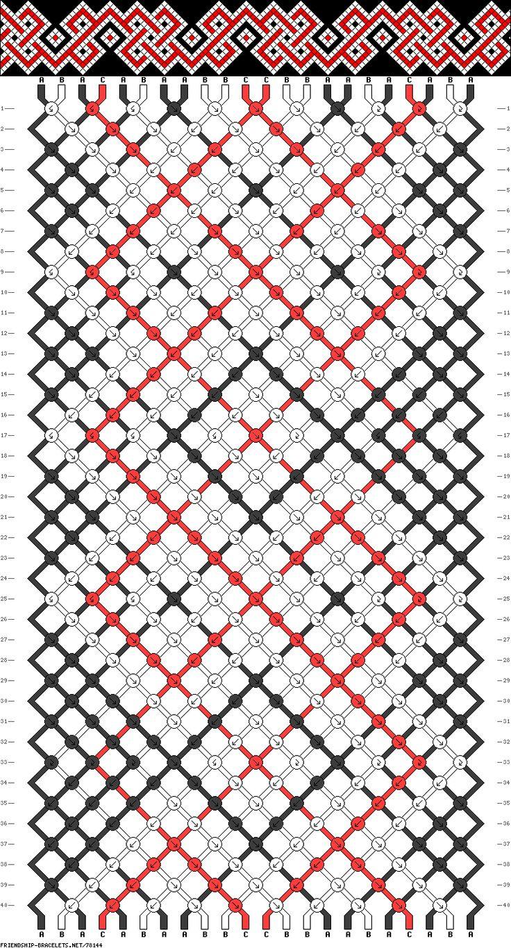 Friendship bracelet pattern- 78144 22 strings, 3 colours