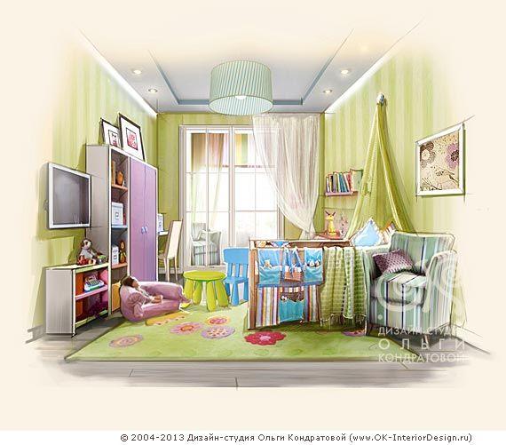 Детская комната для девочки в пастельных тонах http://www.ok-interiordesign.ru/ph_dizain-detskoy-komnaty.php