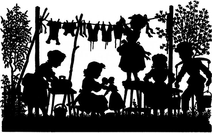 Vintage Laundry Day Silhouette Image - Cute! - The Graphics Fairy