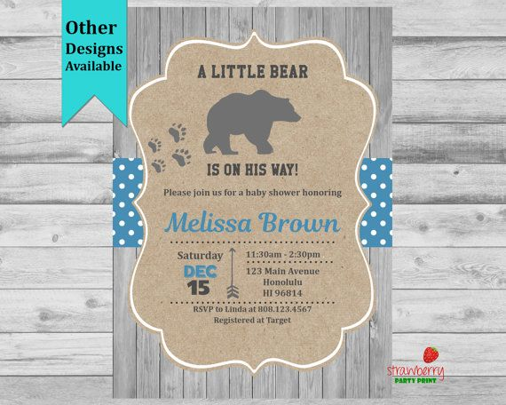 Bear Baby Shower Invitation Winter Baby by StrawberryPartyPrint