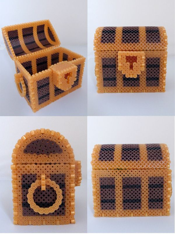Great Hama bead Treasure box by miomio5 - could easily adapt this to make a Minecraft chest!