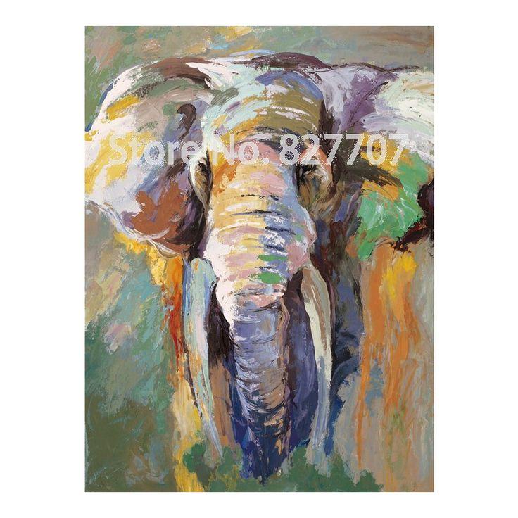 Pintado A Mano Moderno Elefante Pintura Al 243 Leo Imagen De