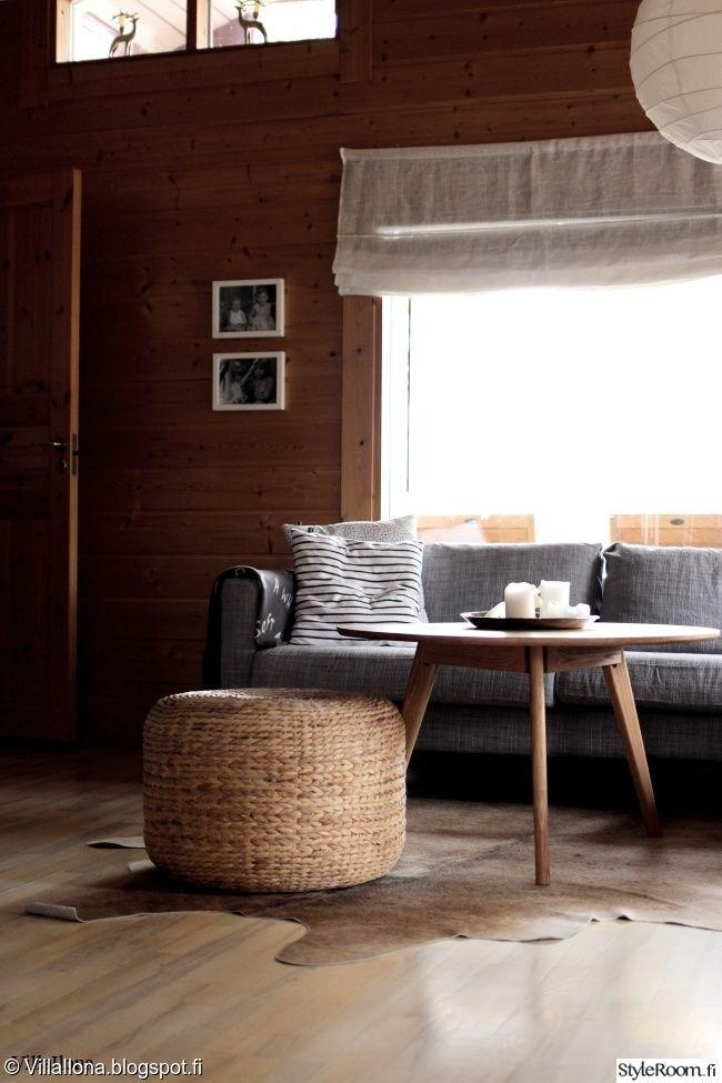 """Jäsenen """"Liina"""" hirsimökissä on rauhallinen tunnelma #styleroom #mökki #olohuone  #scandinavian"""