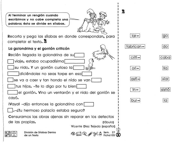 División de sílabas dentro de un texto