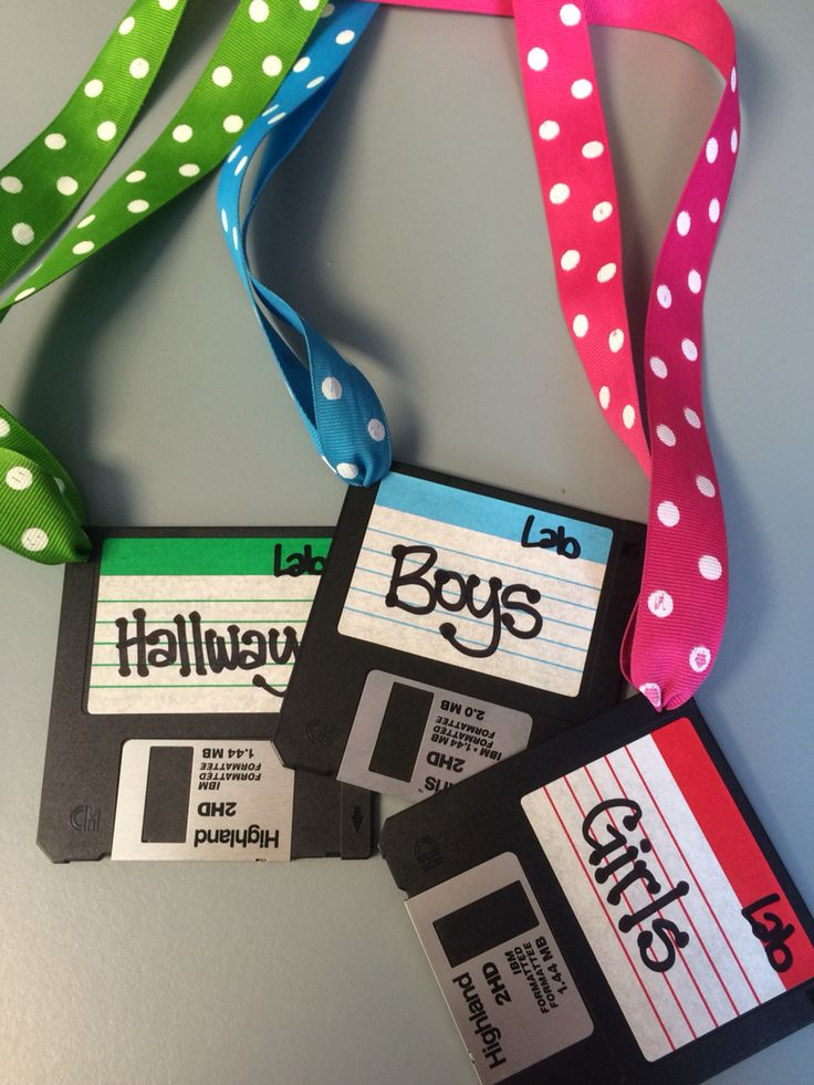 Use old floppy disks to make bathroom passes perfect for the computer lab!