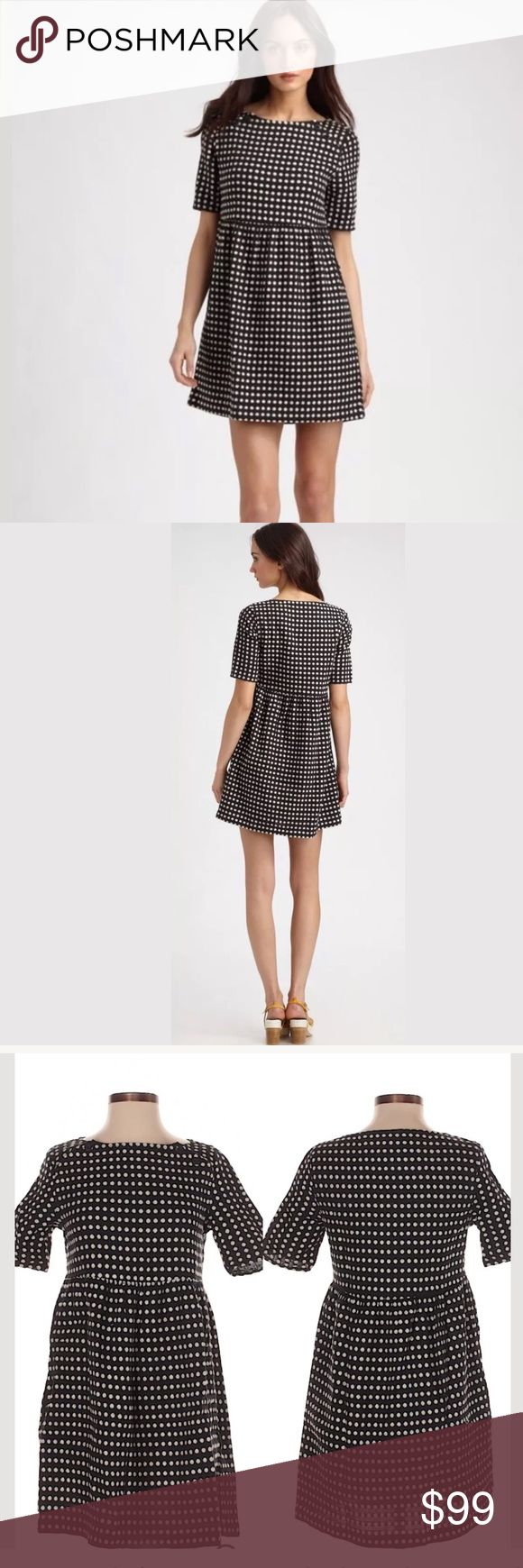"""Ace And Jig Maine Short Sleeved Mini Dress XS A-Line silhouette Short Crew neckline Black Polka dot print Approximate measurements:  Size XS 16 inches from armpit to armpit. 31"""" Length Materials 52% Linen, 48% Cotton Condition Minimal wash wear. Minimal wear to Textured Polka dots. Ace & Jig Dresses Mini"""