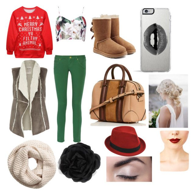 """""""lucys christmas eve outfit"""" by queenmariana ❤ liked on Polyvore featuring Chicnova Fashion, Dylan, M Missoni, UGG Australia, Lipsy, H&M, Accessorize, Stetson and Jeffree Star"""