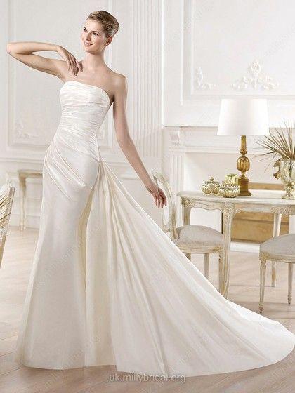 Trumpet/Mermaid Strapless Satin Court Train Ruched Wedding Dresses -GBP£152.99