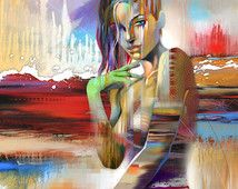 Figures • Abstract Figure Art • Modern Figure Painting Reproduction • Vivid • Contemporary Nude Fine Art Print