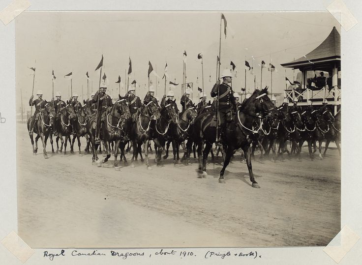 Royal Canadian Dragoons, about 1910. This picture was taken from the grandstands at the Ex.