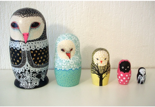 birds, owls, skeletons, oh my. ~ inspiration: Nesting Dolls, Inspiration, The Artists, Skeletons, Nests Dolls, Animal Science, Birds, Painting, Owls