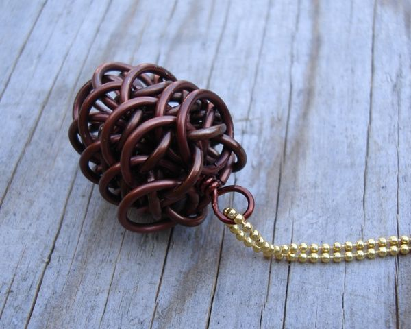 Chainmaille Pinecone Project Necklace Pendant By Crafty Cat Jump Rings