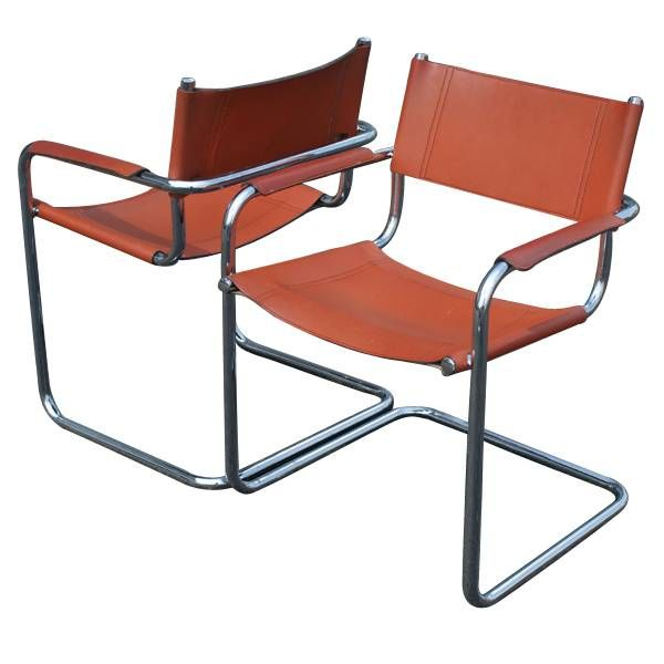 "2-Mid-Century-Modern-Mart-Stam-Leather-Arm-Chairs.  Mart Stam  (Aug 5, 1899, Purmerend - Feb 21, 1986, Zürich)      Dutch architect, urban planner, and chair designer. Stam was extraordinarily well-connected, and his career intersects with important moments in the history of 20th century European architecture, including chair design at the Bauhaus, the Weissenhof Estate, the ""Van Nelle Factory"", an important modernist landmark building in Rotterdam, buildings for Ernst May's Weimar Frankfurt…"