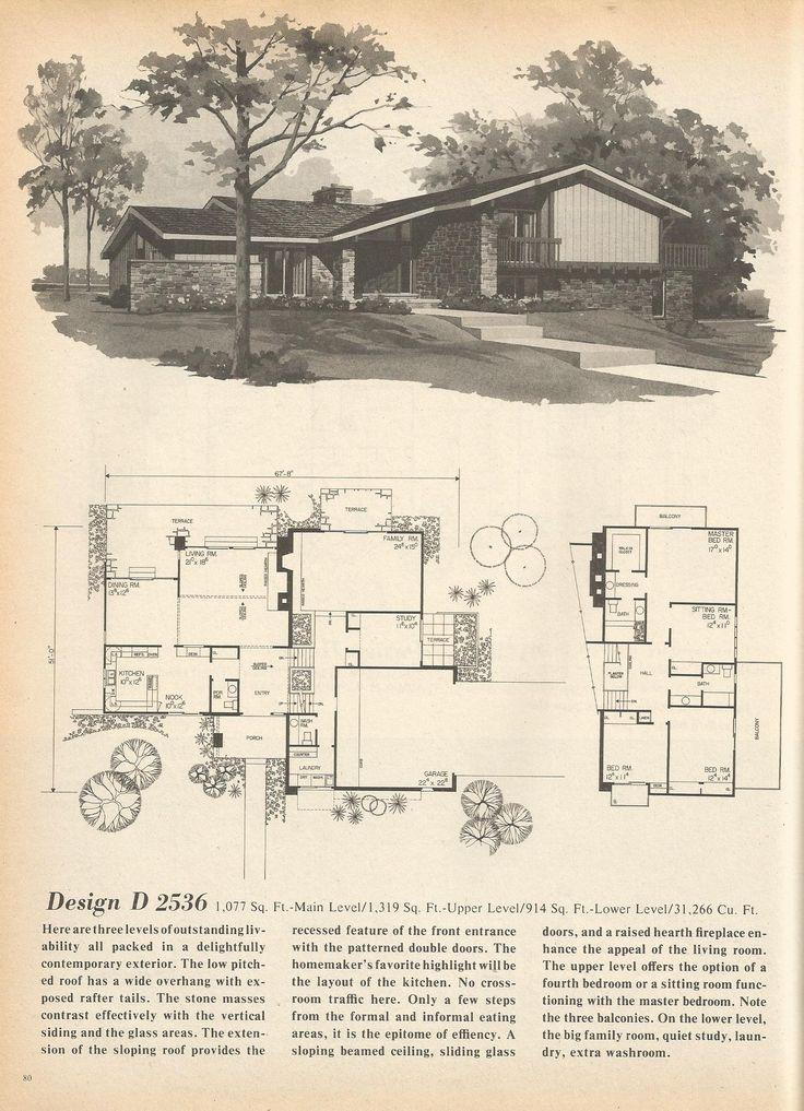 251 best images about vintage floorplans on pinterest for 1970s house plans