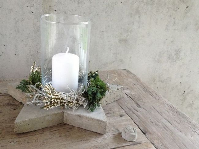 concrete glass candle holder patio table centerpiece