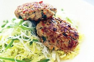 Thai flavoured pork rissoles with noodle salad