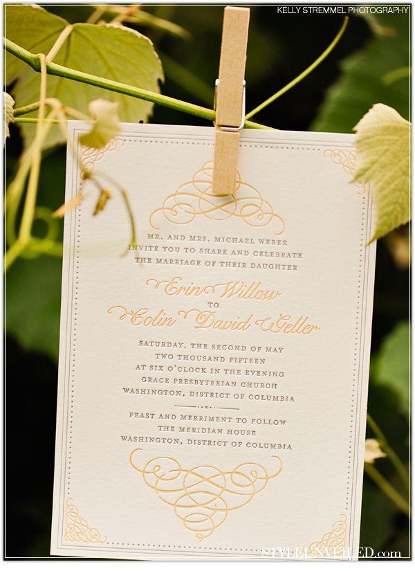 wedding invitation date wording etiquette%0A Peach and Ivory Wedding Invitations