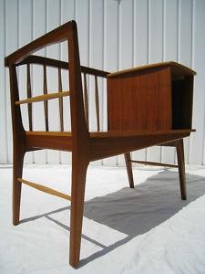 Retro Teak Danish Telephone Seat Table Bench 1960s 70s