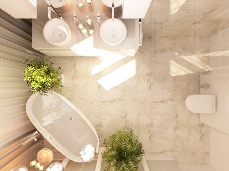 Projekt wnętrz luksusowej łazienki wykończonej kamieniem. Pomieszczenie zostało zaprojektowane tak, aby łączyć strefę relaksu ze strefą praktyczną, gdzie zlokalizowany jest prysznic.
